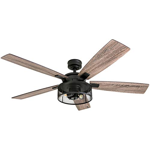 Honeywell Ceiling Fans 50614-01 Carnegie LED Ceiling Fan 52', Indoor, Rustic Barnwood Blades, Industrial Cage Light, Matte Black