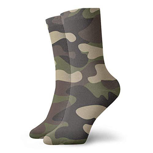 Hangdachang Camouflage Khaki Texture Socken Damen & Herren Socken Fußball Socke Sport Tube Strümpfe Länge 11,8 Zoll