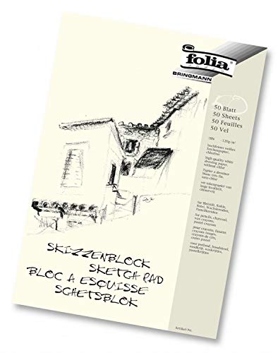 folia 8303 - Skizzenblock, DIN A3, 120 g/qm, weiß, 50 Blatt - hochfeines, weißes Zeichenpapier, chlorfrei