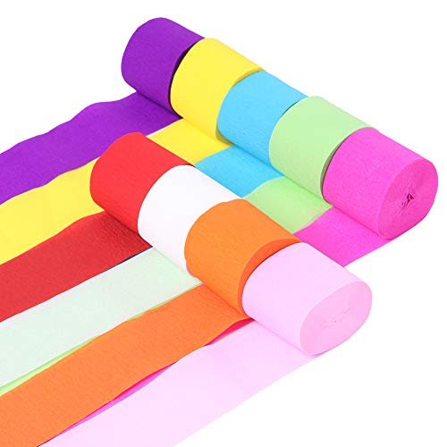 9 Rolls Crepe Paper Streamers Rainbow Streamers 9 Colors for Birthday Wedding Party Graduation Ceremony Decoration SUNBEAUTY (Rainbow Color)