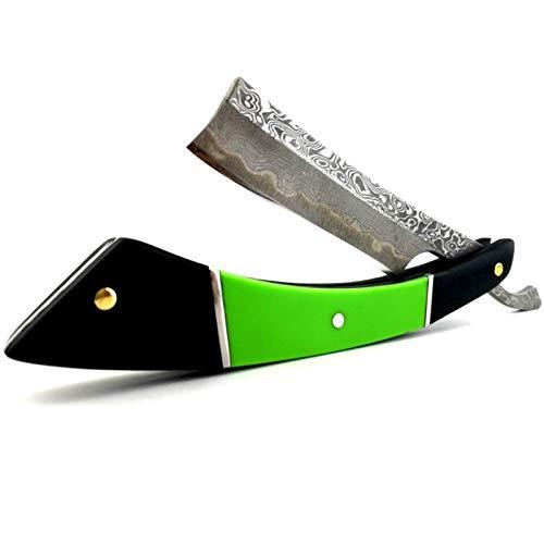 DNAMAZ Damaskus Retro-Rasiermesser sind von Hand gefertigt VG10 Edelstahl Folding S-icherheitsp Rasiermesser Palisander Griff (Color : Green)