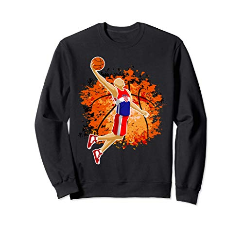 Croatia Basketball Team Croatian Flag Slam Dunk Sport Lover Sweatshirt