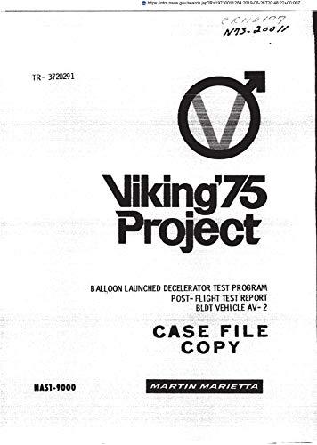 Balloon launched decelerator test program: Post-flight test report, BLDT vehicle AV-2, Viking 1975 project (English Edition)