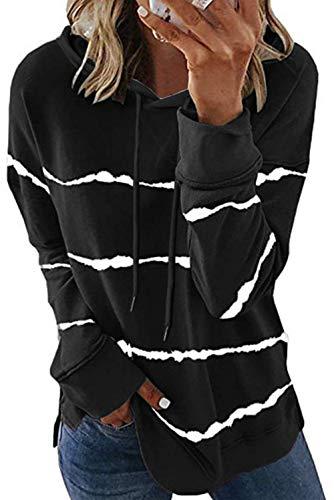 KINGFEN Pullover Damens Oversize Itachi Hoodie Winterpullover Damen Langarmshirts mit Kapuze Wichtelgeschenk für Frauen Warm Strickpullover Pullover Top Damen Winter Hoodie Mädchen Schwarz XL