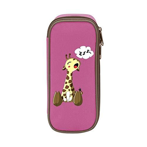 XCNGG Bolsa de papelería estuche estuche para lápices Sleepy Cute Giraffe Pen Bag Large Capacity Student Stationery Bag Pencil Case Dual Zippers