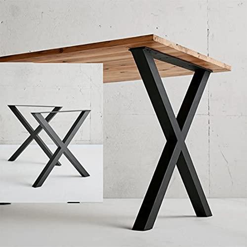 Patas de mesa Patas de mesa de comedor de hierro fundido, Patas de banco industriales negras Patas de escritorio, Patas de muebles de bricolaje resistentes, tubo cuadrado X Patas de mesa de centro 2