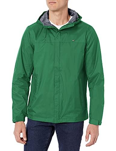 Tommy Hilfiger - Chaqueta impermeable transpirable con capucha para hombre, chamarra con capucha ligera y transpirable e impermeable., L