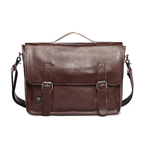 Neue Retro horizontale lässige Herren Tasche PU Leder Herren Einschulter schrägen Rucksack Set eine einfache Handtasche Dunkelbraun