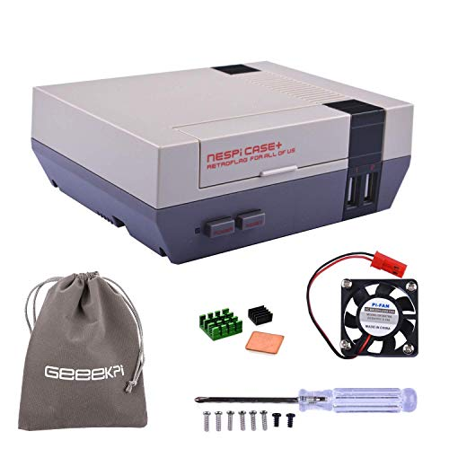 New Version! Retroflag NESPi Case+ Plus Functional POWER button with Safe Shutdown & Cooling Fan & Heatsinks & Flannel Bag for RetroPie Raspberry Pi 3/2 Model B & Raspberry Pi 3B+ (NESPI Case+)