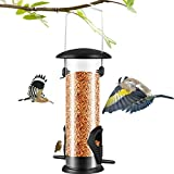 Bird Feeder, Hanging Window Wild Bird Feeders, with 2 Port Bird Feeders, Premium Hard Plastic, Detachable and Mixable Feed Feeding, Suitable for Indoor and Outdoor Gardens
