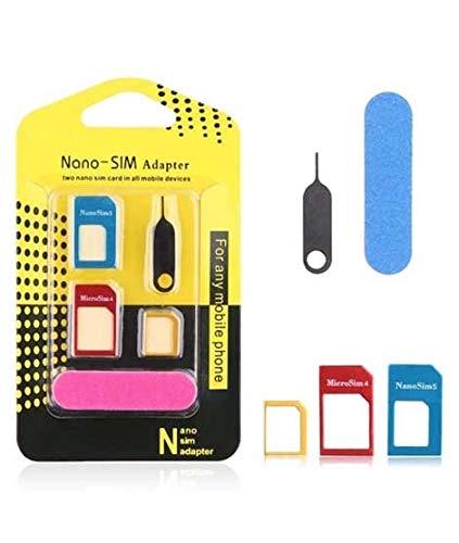 offershop Adattatore SIM Card Kit 5 in 1 Scheda Nano Micro Standard in Metallo Resistente Convertitore Adattatori Convertitori Smartphone Cellulari Tablet Samsung Apple iPhone Huawei