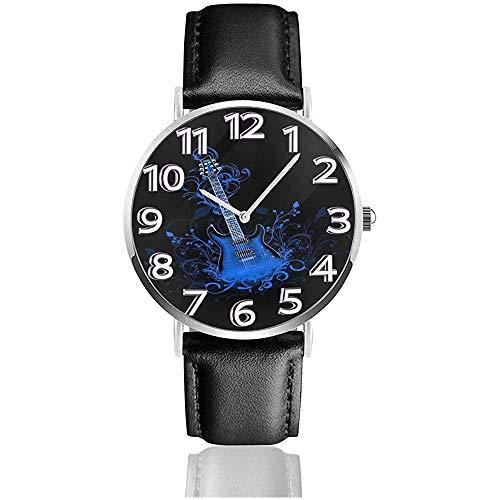 Relojes de Fondo de Guitarra eléctrica Azul Reloj de Pulsera de Cuero de PU Duradero Reloj de Cuarzo Life Silence