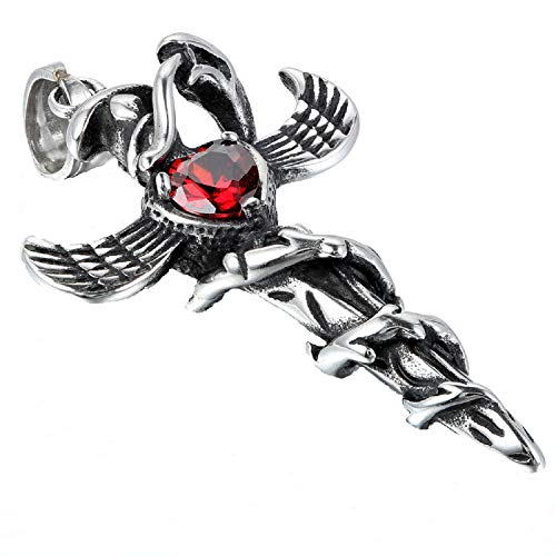 JewelryWe Mens Snake Wing Cross Sword Stainless Steel Pendant Necklace, Red Heart, 22 inch Chain