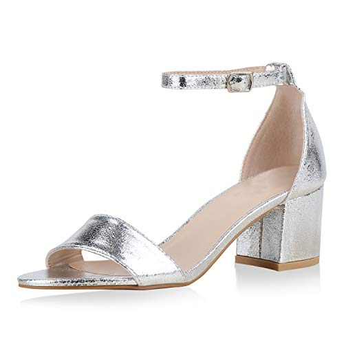 SCARPE VITA Klassische Damen Sandaletten Basic Wildleder-Optik Sommer Schuhe Blockabsatz Riemchensandaletten Absatzschuhe 177246 Silber 37