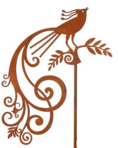 Bornhöft Gartenstecker Pfau Blumen Beetstecker Topfstecker Metall Rost Gartendeko Edelrost rostige Dekoration 155cm