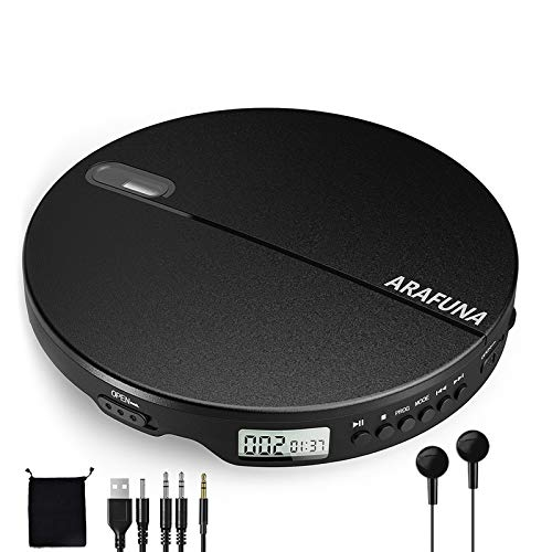 Portable CD Player, Discman CD Player for Home Car Travel with Stereo Headphones Wired Controller 3.5mm Aux Cable, ARAFUNA Anti-Skip Shockproof LCD Display Compact Walkman CD Player for Kids Black