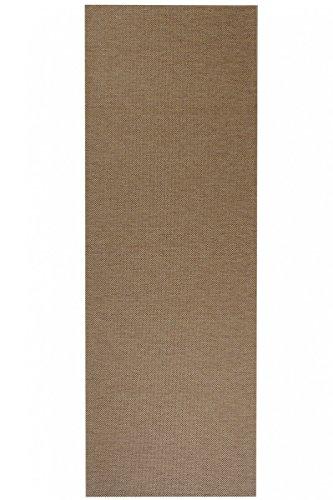 havatex Flachgewebe Teppich Sahara Läufer - robuste Kunstfaser in edler Sisal-Optik | schadstoffgeprüft pflegeleicht | für Schlafzimmer Büro Flur Diele, Farbe:Cognac, Größe:80 x 200 cm
