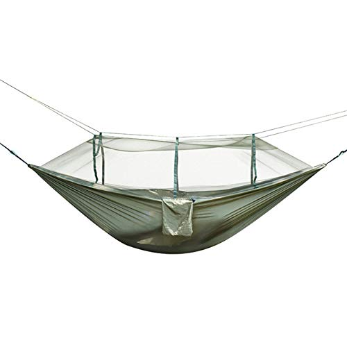 FENGSZ Nylon Portable Hammock 260 X 140Cm,Load Capacity Up To 300Kg,For Camping Travel Kits Outdoor Camping,Army Green