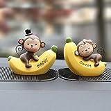 RTYU 1 Set Mode Cartoon Ornements Amour Singe Alphabet Banana Singe Doll Baby Kiss Poupées Voiture Intérieur Accessoires Décoration (Color Name : Banana Monkey 7cm)