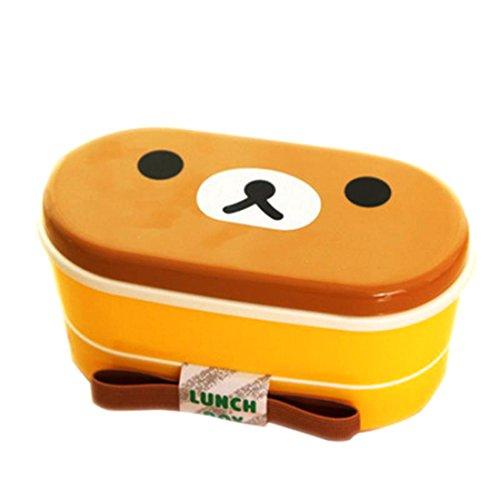 2capa dibujos animados fiambrera Bento caja de almuerzo envase de alimento con palillos japonés estilo