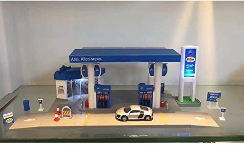 Báscula de sonido+servicio de luz Gasolinera tienda de carretera coche casa juego de juguetes ARAL gasolinera combinación - coche al azar, nombre del color: Aral gasolinera combinación JXNB