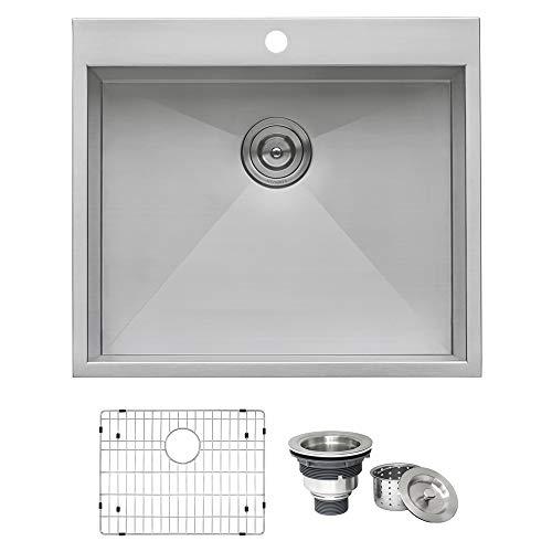 Ruvati RVH8010 Overmount 16 Gauge 25' Kitchen Sink Single...
