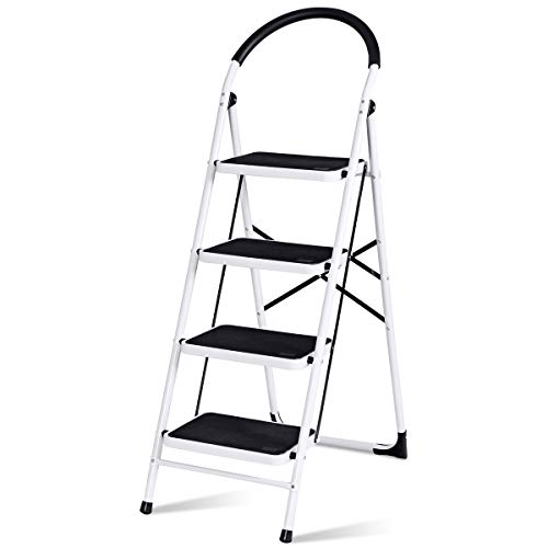 Giantex 4 Step Ladder, Folding Step Stool with Anti-Slip Pedal Platform, Metal Frame, Rubber Hand Grip, 330Lbs Capacity Portable Multipurpose Ladder for Home Kitchen