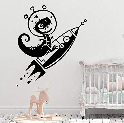 Cartoon Dinosaurier Wandtattoos Rocket Space Home Zimmer Dekor Aufkleber Vinyl Abnehmbare Baby Kinderzimmer Dekoration Zubehör 57X35CM