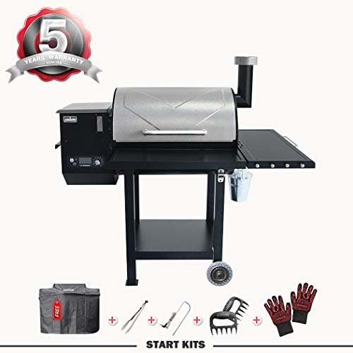 ASMOKE Wood Pellet Grill, 700 sq Large Cooking Area, 8 in 1 Pellet Smoker Grill, Outdoor Pellet Grill - Includes Waterproof Cover, Meat Probe and More Smokers