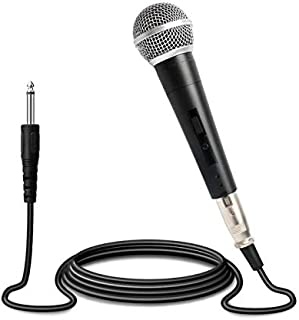 Professional Cardioid Dynamic Vocal Microphone Handheld Wired mic with 9.8ft XLR Audio Cable (1.5' XLR-to-1/4 Cable) for Karaoke, Singing, Speech, Stage, Performance, Wedding