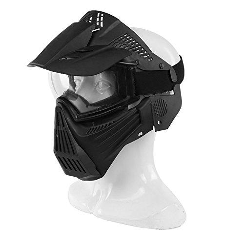 haoYK táctico Militar de Airsoft de la Cara Llena máscara Protectora Transparente protección Paintball Halloween Disfraz, Negro
