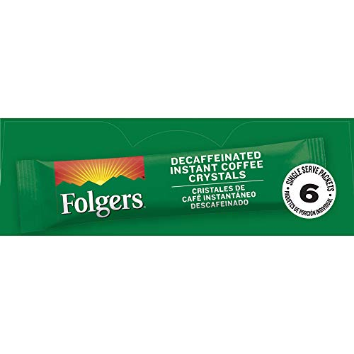Folgers Classic Decaf Instant Coffee Crystals Packets, 6 ct (Pack of 12), Packaging...