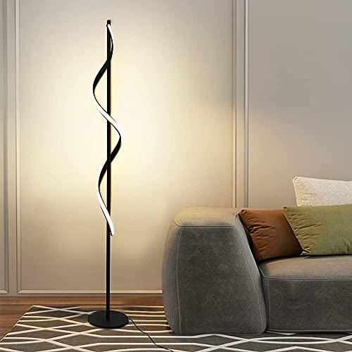 Depuley Lampada a stelo LED per soggiorno, 24 W, spirale, con piedistallo, moderna lampada da terra nera, 3000 K, decorazione, camera letto, sala pranzo, ufficio [classe energetica A+]