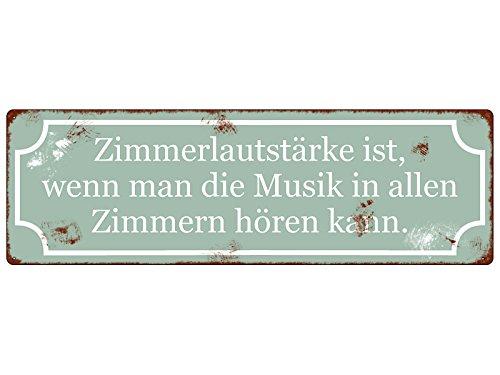 Interluxe Retro Dekoschild METALLSCHILD Blechschild ZIMMERLAUTSTÄRKE Geschenk Musik Spruch