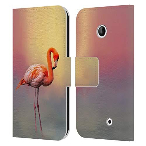 Offizielle Simone Gatterwe Amerikanischer Flamingo Gemischte Designs Leder Brieftaschen Handyhülle Hülle Huelle kompatibel mit Nokia Lumia 630