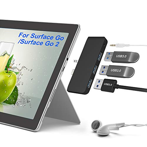 Surface Go/ Go2 Hub Adaptador, Surface Go Docking Station 4 en 2 con 3 Puertos USB 3.0 (5 Gbps) y Conector de Audio/ Micrófono/ Auriculares de 3,5 mm, Accesorios Combinados para Microsoft Surface Go