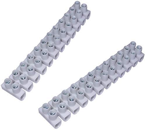AERZETIX: Juego de 2 regletas de terminales conexión por tornillo 12 pistas posiciones cables 450v blanco (1-4mm²/94.9x16.6xH13mm)