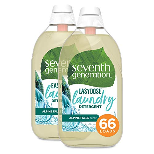 Seventh Generation Laundry Detergent, Ultra Concentrated EasyDose, Alpine Falls, (66 Loads Each), 23.1 Fl Oz, Pack of 2 (Packaging May Vary)