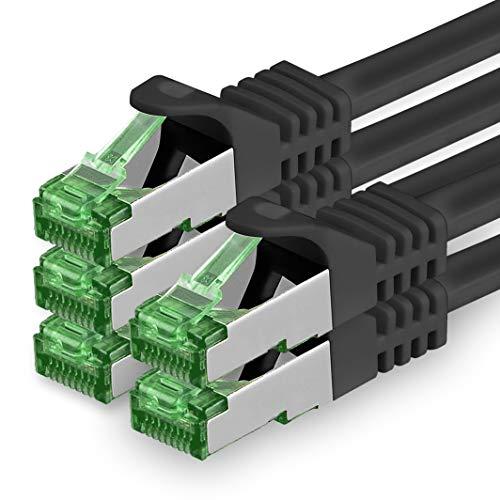 1aTTack.de Cat.7 Cavo di Rete 0,5m - Nero - 5 Pezzi - Ethernet LAN Cat.7 SFTP Spina RJ45 Cat6a 10 Gbit/s Compatibile con Cat5 Cat6 Cat6a Cat8 per Switch Router Modem Patchpanel