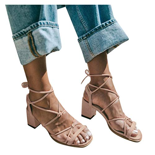 Women Wedge Sandals, Ulanda Women's Open Toe Lace Up Mid Chunky Heeled Cross Strap Strappy Dress Sandals Pink