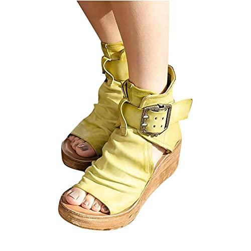 JHLIA Sandalias de Mujer Tacón de Cuña Plataforma,Sandalias de Cuña Retro de Cuero Casual para Mujer De Verano Primavera,Sandalias Zapatos Romanos con Correa De Hebilla