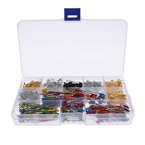 LOVIVER Pin de Seguridad Colorido, Tamaños Variados, Acero, Caja de 500 Piezas, Material Escolar