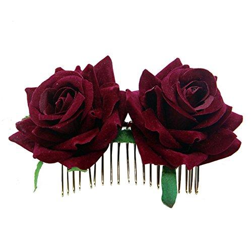 KingbeefLIU Horquilla Rosa Horquilla Dama De Honor Boda Mujer Accesorio para El Cabello Flor Nupcial Peine para El Cabello Vino Rojo