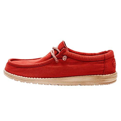 Hey Dude Wally Washed - Mocasines para Hombre - Color Brick - Zapatos para Hombre Ligeros y cómodos - Talla EU 42