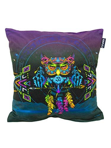 PSYWORK Schwarzlicht Neon Sentymo Owl - Cojín (40 x 40 cm), diseño de búho