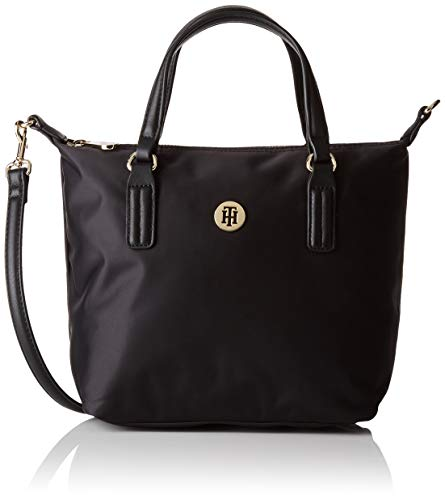 Tommy Hilfiger Poppy Small Tote Solid, Bolsas. para Mujer, Negro, One Size
