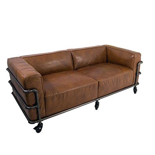 Design Clubsofa Wakefield 2-Sitzer Cuba Braun Aluminium-Rohr Sofa Loungesofa Ledersofa