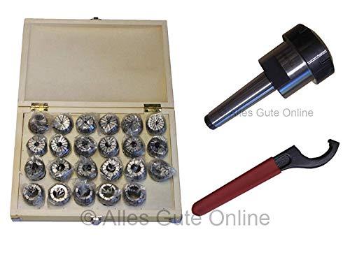 Spannzangenfutter MK3 M12 DIN228A ER40 + ER40 472E Spannzangen-Set HK (23 St.) + Schlüssel H