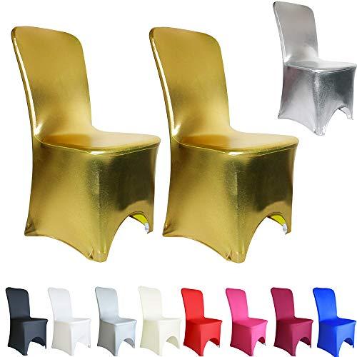 TtS Elastische Vergoldung Stuhlhussen Stuhl Abdeckung Stuhlüberzug Spandex Hochzeit Bankett Dekoration, Metall Golden-Gewölbte Front