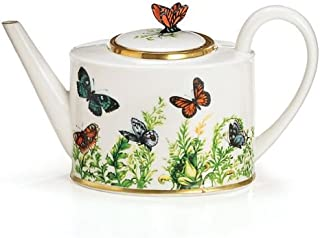 Wings Of Grace Porcelain Butterfly Teapot With Gold Trim For Fine Dining,Home Decor And Collectors